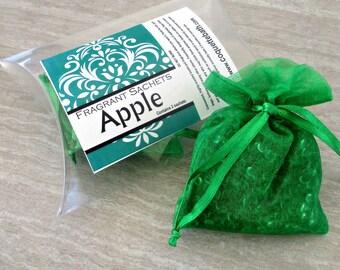 Apple Sachets, Aroma beads, set of 2 highly fragranced organza bag sachets, scented sachet