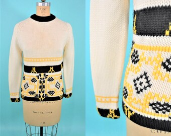 1960s sweater | vintage black yellow sweater | 60s pattern sweater S