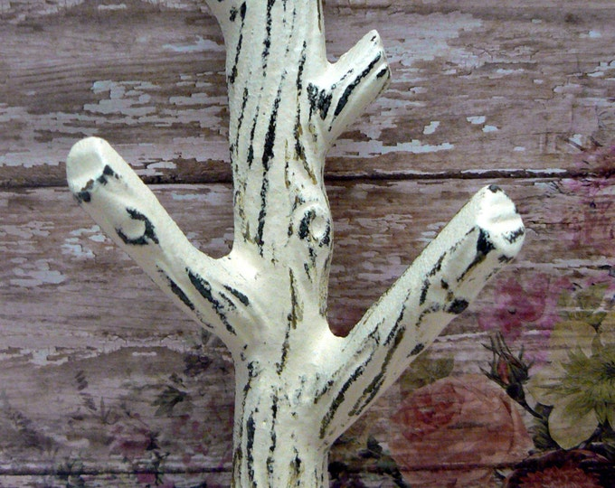 Tree Branch Wall Hook Shabby Elegance Cottage Chic Cream Off White Mudroom Leash Towel Keys Nature Rustic Woodsy Cabin Home Decor Design