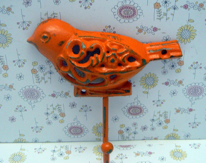 Bird Cast Iron Wall Hook Orange Shabby Chic Nursery Spring Summer Wall Decor