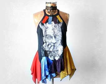 High Neck Tank Colorful Upcycle Top Layered Shirt Gypsy Festival Artsy Art Clothing Rock Band T-Shirt  Boho Clothes Sexy Black Top M 'QUINN