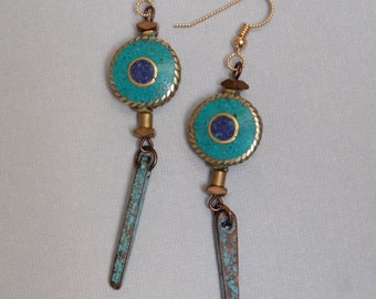 Nepalese and Patina Earrings with Goldfill ear wires