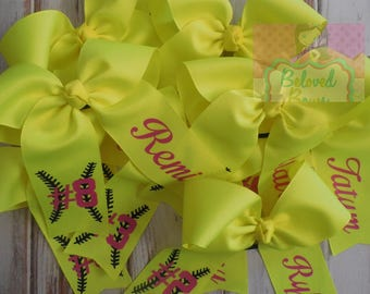 Two Loop Tails Down Monogrammed Softball Hair Bow, Personalized, Softball Team Bows, Softball Ponytail Bow