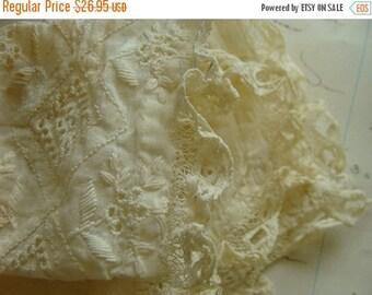 ON SALE Gorgeous Antique Lace Needlework  Baby Bonnet