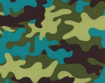 """SALE FABRIC - Amphibian Camouflage Fabric - Lagoon Camo by Michael Miller Fabric - 100% Cotton Fabric - 23"""" remnant"""