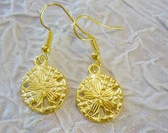Golden Sand Dollar dangle Earrings-Summer 14k plated Gold Beach Earrings
