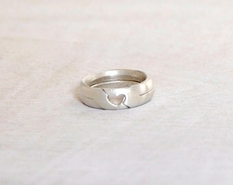 Heart shape | 2 piece Puzzle Ring | Sterling silver || Engagement / wedding ring || Handmade in israel || A great gift idea for a loved one.