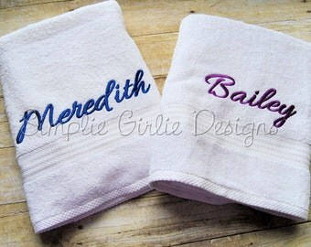 Personalized bath towel. Bath sheet. Hand towel. Washcloth. Custom. Choose towel and thread color.
