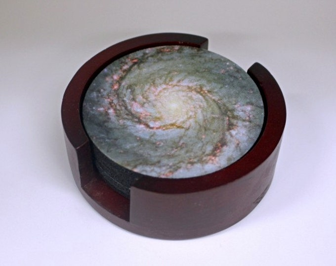 Whirlpool Galaxy Space Coaster Set of 5 with Wood Holder