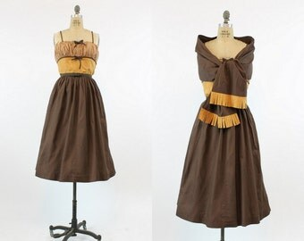 50s Dress Cotton XS / 1950s Vintage Dress Color Block Sundress and Matching Shawl / Caramel Macchiato Dress