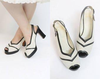 1970s does 1940s Shoes Platforms Size 7.5 /  70s Slingbacks Spectator Peep Toes  /  Bazaar CM Shoes