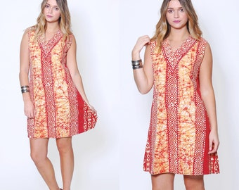 Vintage 90s ETHNIC Mini Dress Amber BATIK Boho Dress Cotton Hippie Tunic Dress Festival Dress
