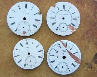 Vintage Antique porcelain pocket Watch Faces - Steampunk - Scrapbooking k26