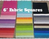 "6"" fabric squares - 160 squares - fabric scraps bundle - quilting - charm packs - fabric bundle - charm squares - multi colors - kona solid"