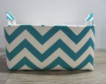 SALE Fabric Diaper Caddy - Storage Container Basket - Organizer Bin - Tote Bag - Bucket- Baby Gift - Nursery - Turqouise Chevron - RTS