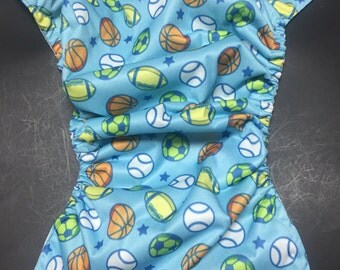 MamaBear BabyWear Waterproof Diaper Cover / Swim Diaper, Wrap One Size Fits All - Sports Star
