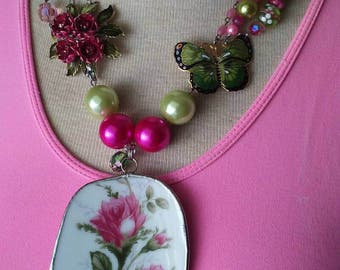 Repurposed Vintage Brooch Broken China Pendant Necklace Promise Me A RoseGarden