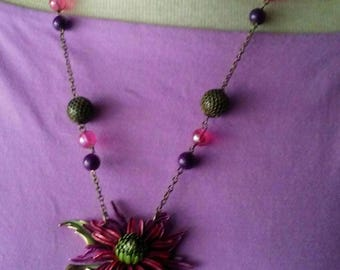 Recycled Purple Flower Brooch Necklace First Bloom