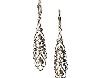Boho Charm Pendant Silver-tone Filigree Flower Rhombus Earrings