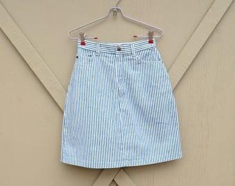 80s vintage Engineer Striped Denim High Waist Jean Skirt / Stuffed Jeans Striped Jean Skirt