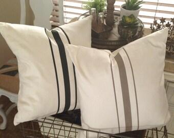 French Grainsack  Canvas / Linen  Pillows  Set of Two  Black and Khaki Stripes  Farmhouse / Beach / Coastal / Cottage Chic