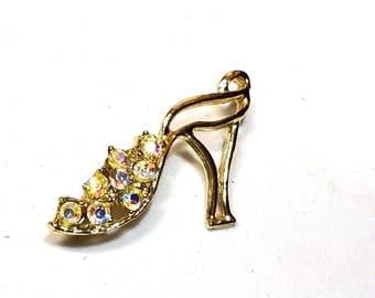 Cute rhinestone High Heel Shoe Vintage Figural Pin