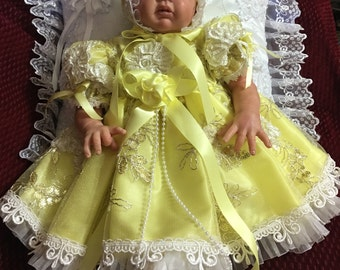 REBORN DRESS NEWBORN Yellow Tulle Embroidered Floral Victorian bonnet, shoes for 17 to 19 inch
