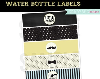 Party Printable, Little Man Happy Birthday Water Bottle Labels Printable, Drink Wrappers, Instant Download, Mustache Party, Little Man Party