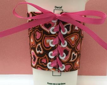 Heart Corset Mug Hugger, Coffee Cozy, Mug Cozy