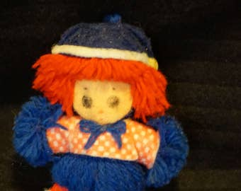 Nice Little Vintage Raggedy Andy Yarn Ornament 1975  by The Bobbs-Merrill Co