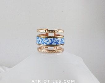 Portugal  Antique Azulejo Tile Replica Ring  Aveiro,  Palacete do Visconde da Granja Rose Gold Tone Size 8
