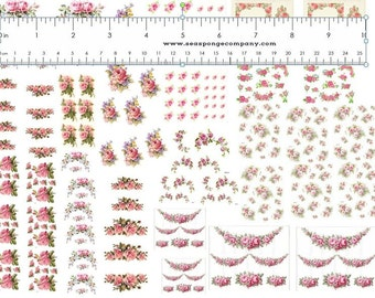 Dollhouse Miniature Shabby Chic Decals 1:12 Scale Floral Flowers Roses #3
