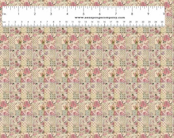 Dollhouse Miniature Small Scale Computer Printed Pink and Tan Quilt Roses Floral