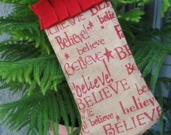 Believe Burlap Christmas Stocking