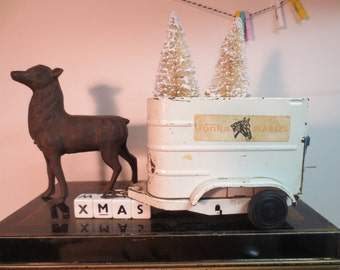 Vintage Tonk Toy Horse Trailer loaded 2 white sisal trees  and presents / Ready for Delivery / Desk Decor / Holiday Decor Truck Trees