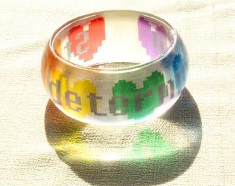Stay Determined Resin Bangle Bracelet, Undertale Determination Bracelet, Undertale jewelry, Rainbow Hearts, pixel art, 8bit gamer