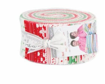 SUMMER SALE - Red Dot Green Dash - Jelly Roll - by Me & My Sister for Moda Fabrics