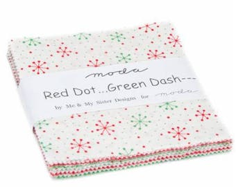 SUMMER SALE - Red Dot Green Dash - Charm Pack - by Me & My Sister for Moda Fabrics