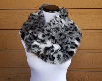 30% off, Black Cowl, fur cowl ,Warm Scarf, Short Scarf, One neck carf, Cozy Scarf, boho Scarf, Fleece Scarf, Wrap, Womens Scarf, cowl scarf