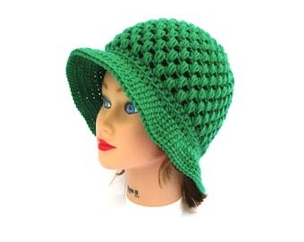 Kelly Green Cloche - Crochet Flapper Hat - Women's Hat - Puff Stitch Brim Hat - 1920s Cloche Hat - Crochet Accessories