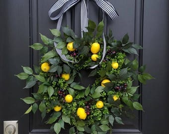 Taste of Summer, Lemons Wreath, Yellow Lemons Wreath, Boxwood and Lemons, Blueberries and Lemons, Summer Door Wreaths, Front Porch Wreaths