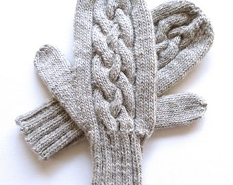 Beige Mittens for Women, Handknit Mittens, Teen Girls, Cable Mittens, wool mittens, wool and mohair mittens, knitted mittens, gift for women