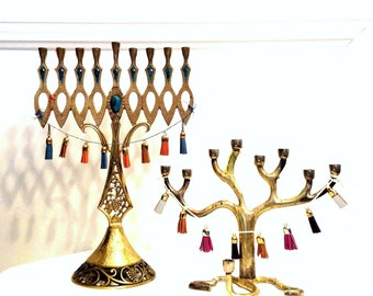 Swag up your Menorah Christmas Tree Tassel Garland Cake Pie Topper Handmade Holiday Party Decor Teal Purple White Navy Blue Gold Custom Mini