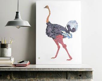 Ostrich Print Giclee Print Ostrich Art Ostrich Wall Art Ostrich Decor Ostrich Art Print Ostrich Home Decor Animal Art Print