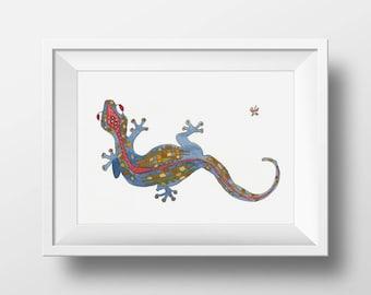 Lizard- limited edition print from original // Wall Art // 13x19, 11 x 14, 8 x 10, 5 x 7