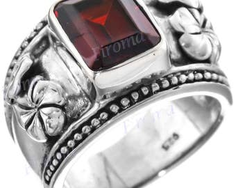 Gorgeous Red Garnet 925 Sterling Silver Sz 7 Ring