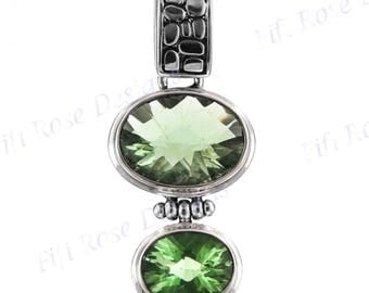 """1 1/2"""" Design Double Green Amethyst 925 Sterling Silver Pendant"""
