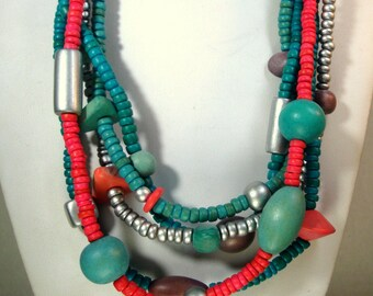 5 Strand Aqua Turquoise Pink Silver Wood Necklace, Happy Colors Vintage 1980s, Hand Painted Coco Wood, Spring Easter