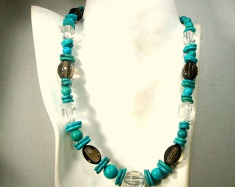 Turquoise STONE and Glass Bead Necklace, Adjustable Length, OOAK R Starr