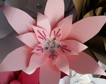 Paper flower with crystals and/or pearls-choose cardstock color-choose floral design-finished product